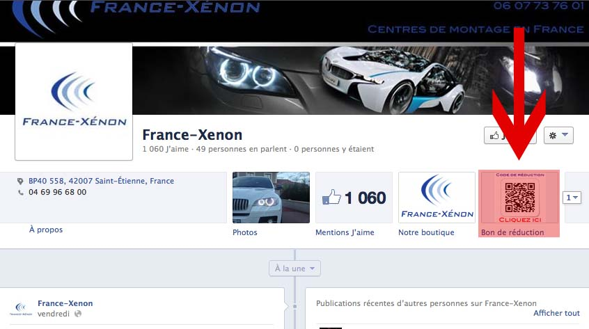 Bon de réduction FACEBOOK FRANCE-XENON