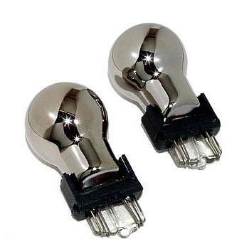 Paire d'ampoule de clignotant chromé - Culot BAU15S / PY21W - Ergots décalés.