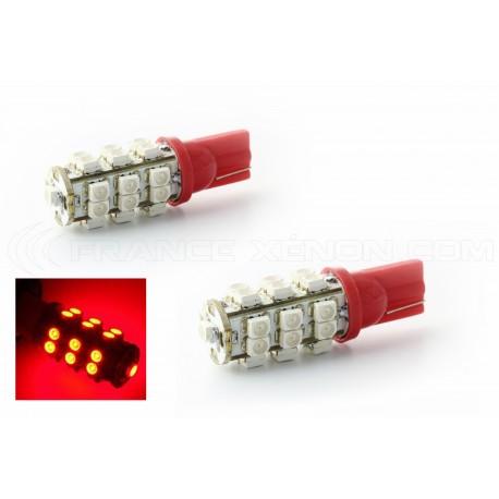 2 x 25 LEDS rot - LED SMD - T10 W5W Lampen